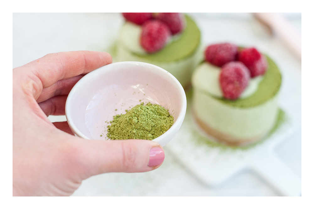 Matcha Hafer Mini Cheesecakes